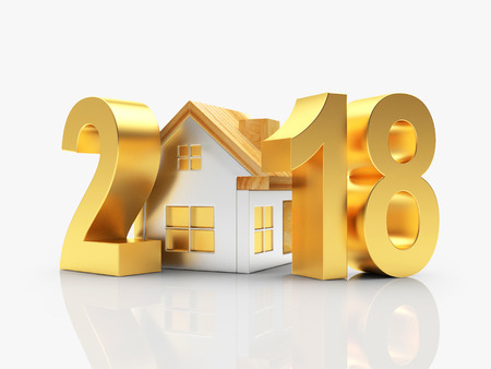 84901444 - real estate concept. golden 2018 new year and house isolated on white background. 3d illustration