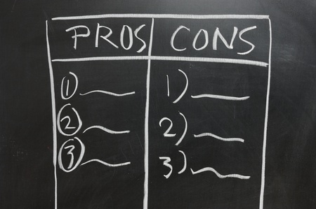11792761 - chalkboard drawing - pros and cons list side by side