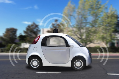 42273488 - autonomous self-driving driverless vehicle with radar on the road
