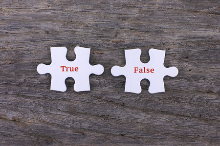 64027273 - missing white puzzle with positive true false and copyspace area