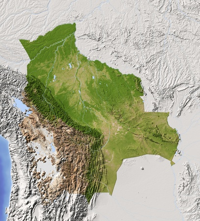 10757591 - bolivia. shaded relief map with major urban areas. surrounding territory greyed out. colored according to vegetation. includes clip path for the state area. projection: mercator extents: -71/-56/-24/-8 data source: nasa