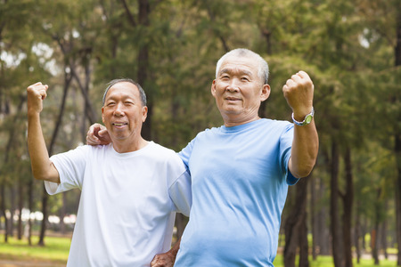 28094580 - happy senior brothers enjoy retire time in the park